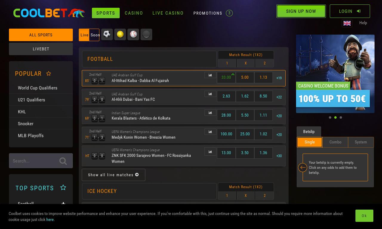 CoolBet - 100% Bonus up to €100   MatchedBetting.com