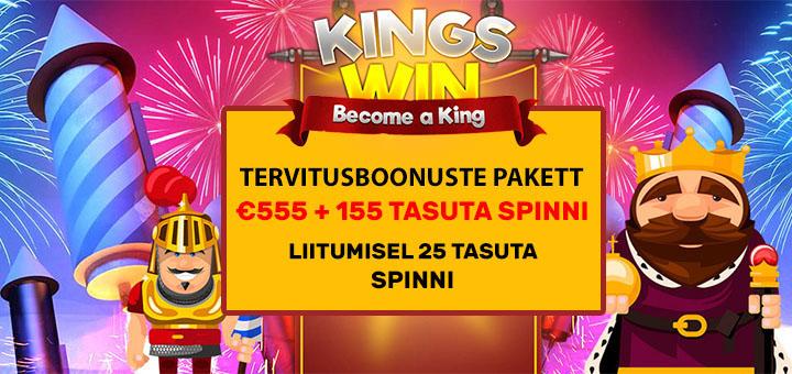 Kingswin kasiino boonused: liitumisel 25 tasuta spinni + €555