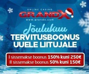 Jõulukuu toob rahasaju kuni 400 eurot tervitusboonust GrandX kasiinos