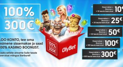 OlyBet annab uutele mängijatele 300 eurot tasuta